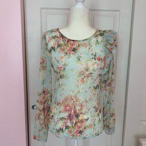 Zara Women Watercolor Sheer Floral Blouse